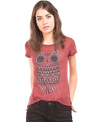 Flying Machine Women Owl Print Embellished Top