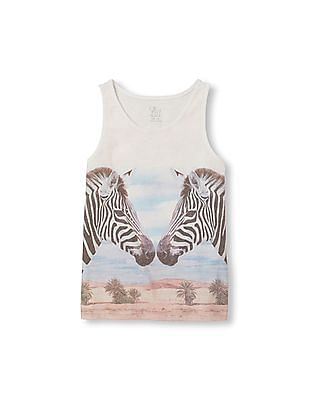 The Children's Place Girls Sleeveless Safari Animal Graphic Tank Top
