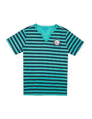 Cherokee Boys Notch Neck Striped T-Shirt