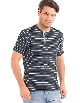 Cherokee Muscle Fit Striped Henley T-Shirt