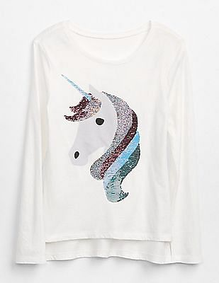 GAP Girls White High Low Hem Long Sleeve Tee