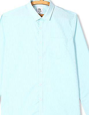 Excalibur Green Semi Cutaway Collar Striped Shirt