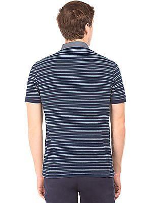 Arrow Sports Button Down Striped Polo Shirt