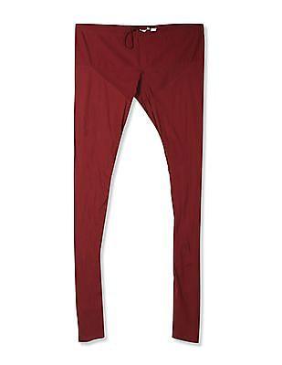 Karigari Red Drawstring Waist Cotton Churidar