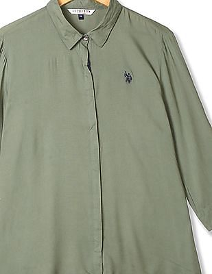 U.S. Polo Assn. Women Spread Collar Solid Shirt