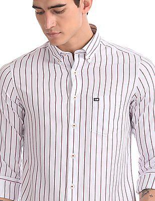 Arrow Sports White Vertical Stripe Button Down Shirt