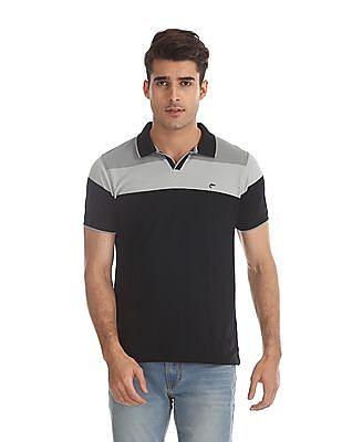 Ruggers Black Colour Block Pique Polo Shirt