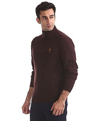 U.S. Polo Assn. Lambs Wool Zip Up Sweater