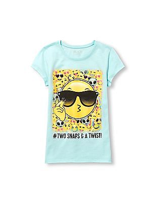The Children's Place Girls Blue Short Sleeve 'Hashtag Two Snaps And A Twist!' Emoji Graphic Tee