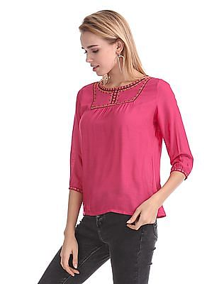 Bronz Contrast Embroidered Rayon Top