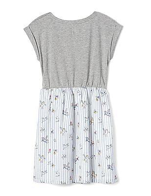 GAP Girls Grey Unicorn Mix Fabric Dress