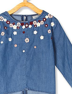 Cherokee Blue Girls Embroidered Chambray Top