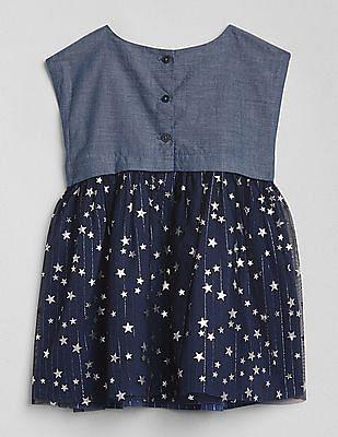 GAP Baby Chambray Star Mix-Fabric Dress