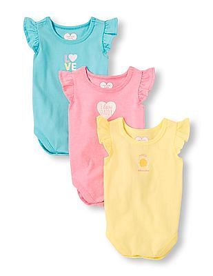 The Children's Place Baby Girls Printed Flutter Sleeve Bodysuit 3-Pack