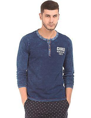 Cherokee Indigo Dyed Slim Fit Henley T-Shirt