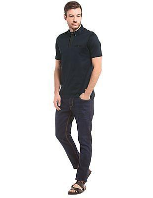 True Blue Pintuck Placket Slim Fit Polo Shirt