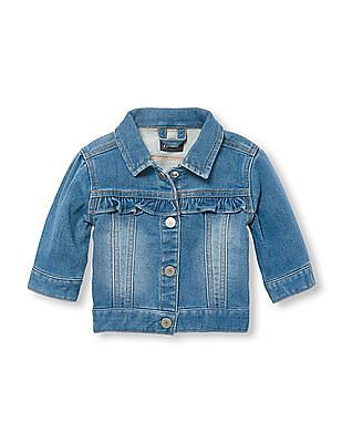 The Children's Place Baby Girl Blue  Ruffle Denim Jacket