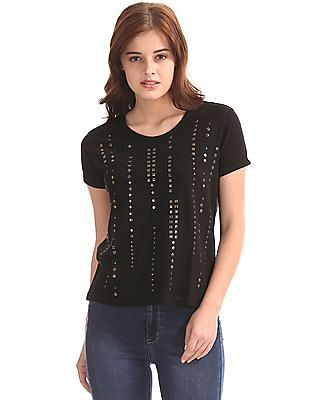 Flying Machine Women Studded Front Cotton Viscose T-Shirt