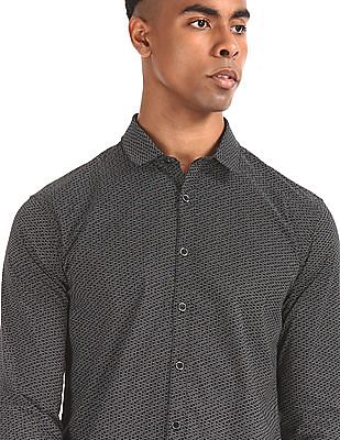 Flying Machine Black Printed Slim Fit Shirt