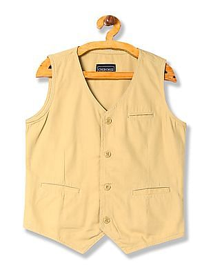 Cherokee Boys Solid Cotton Waistcoat