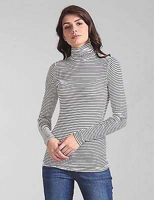 GAP Women White Ribbed Long Sleeve Stripe Turtleneck Top in Modal