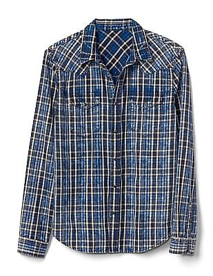 GAP Men Blue Western Plaid Slim Fit Shirt