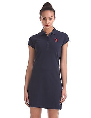 U.S. Polo Assn. Women Short Sleeve Solid Polo Shirt Dress