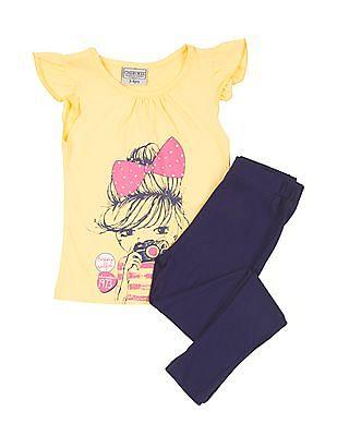 Cherokee Girls Printed T-Shirt and Leggings Set