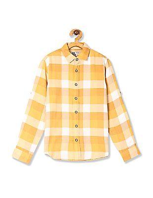 FM Boys Yellow Boys Barrel Cuff Check Shirt