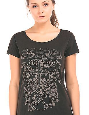 EdHardy Women Embellished High Low Hem T-Shirt