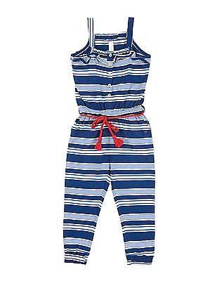U.S. Polo Assn. Kids Girls Striped Knit Jumpsuit