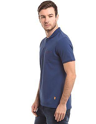 True Blue Solid Slim Fit Polo Shirt