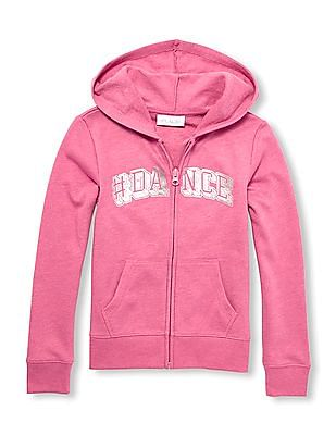 The Children's Place Girls Active Long Sleeves Foil Graphic Full-Zip Sweatshirt