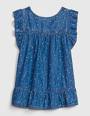 GAP Toddler Girl Blue Star Ruffle Denim Dress