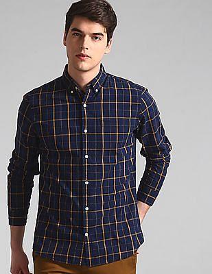 GAP Men Blue Check Poplin Shirt