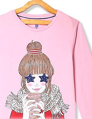U.S. Polo Assn. Kids Pink Girls Printed Cotton Jersey T-Shirt