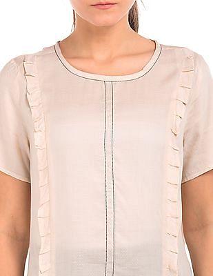 Arrow Woman Ruffle Trim Patterned Weave Top