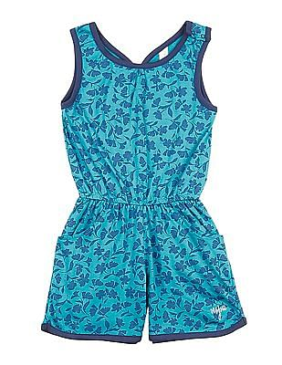 U.S. Polo Assn. Kids Girls Floral Printed Romper