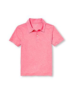 The Children's Place Boys Red Short Sleeve Neon Jersey Polo