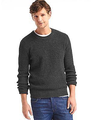 GAP Men Grey Merino Wool Blend Ribbed Crew Sweater