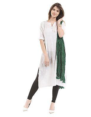 Karigari Green Crinkled Cotton Dupatta