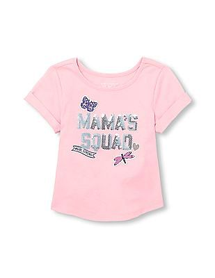 The Children's Place Toddler Girl Short Sleeve Sequin Mama's Squad Patch Top