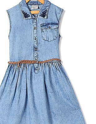Cherokee Girls Belted Washed Denim Dress