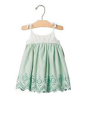 GAP Baby White Mix Fabric Eyelet Dress