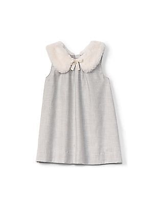 GAP Baby Faux-Fur Collar Shift Dress