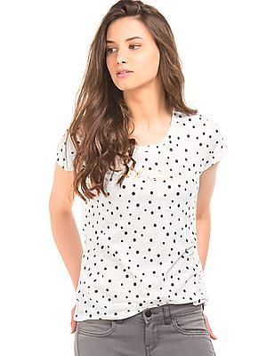 Flying Machine Women Polka Print Regular Fit T-Shirt