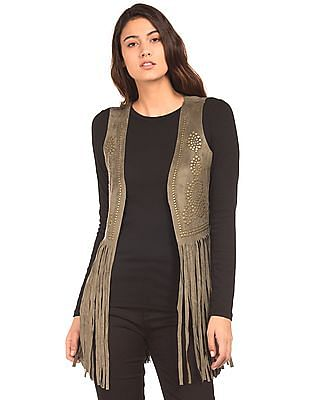 EdHardy Women Suedette Fringed Shrug