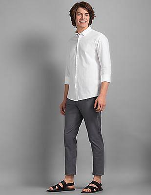 True Blue Grey Slim Fit Printed Trousers