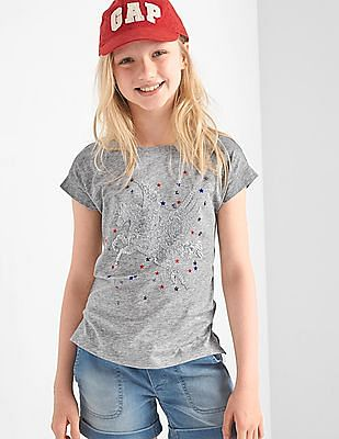 GAP Girls Grey Flippy Sequin Graphic Tee