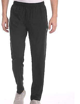 USPA Active Black Solid Active Track Pants
